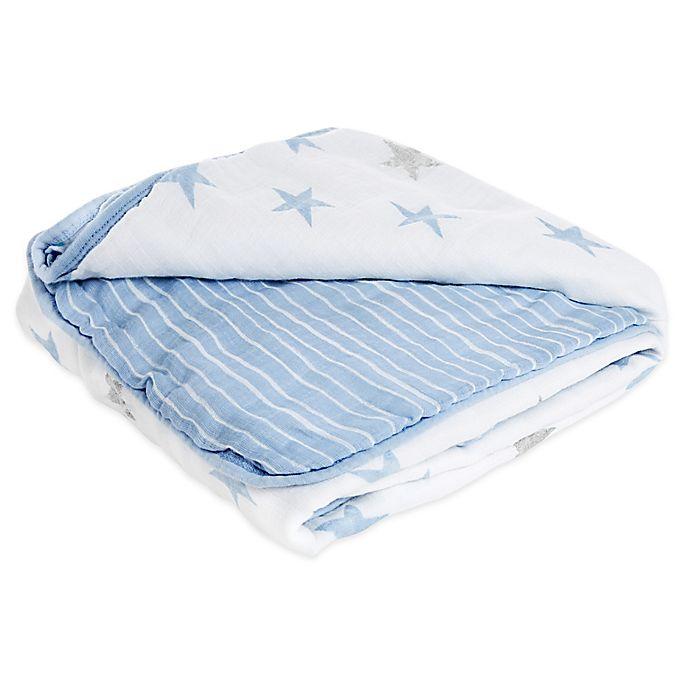 Alternate image 1 for aden® by aden + anais® Dapper Muslin Blanket in Blue