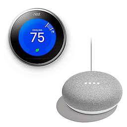 Google Nest Learning Gen 3 Thermostat with Bonus Google Home Mini in Chalk