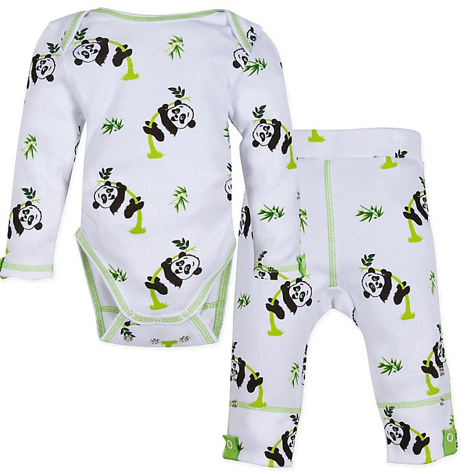 Alternate image 1 for MiracleWear® Posheez Snap'n Grow 2-Piece Panda Bodysuit and Pant Set in White