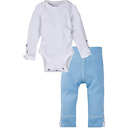 MiracleWear 2-Piece Posheez Snap'n Grow Long-Sleeve Bodysuit and Pant Set in White/Blue