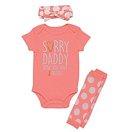 "Baby Starters® 3-Piece ""Sorry Daddy"" Bodysuit, Leg Warmer, and Headband Set in Pink"