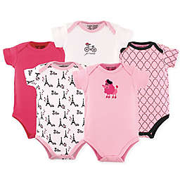 Luvable Friends® 5-Pack French Poodle Short Sleeve Bodysuits in Pink