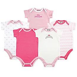 Luvable Friends® 5-Pack Tiara Short Sleeve Bodysuits in Pink