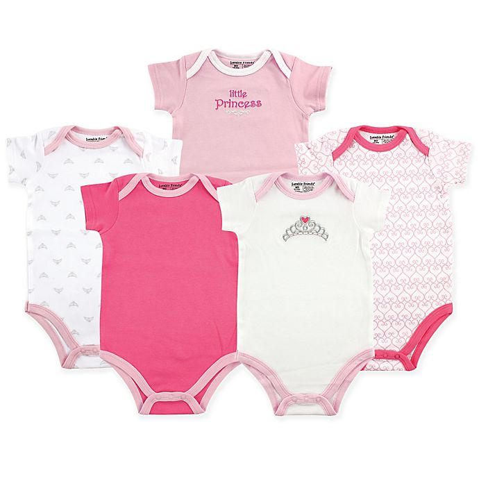 Alternate image 1 for Luvable Friends® 5-Pack Tiara Short Sleeve Bodysuits in Pink