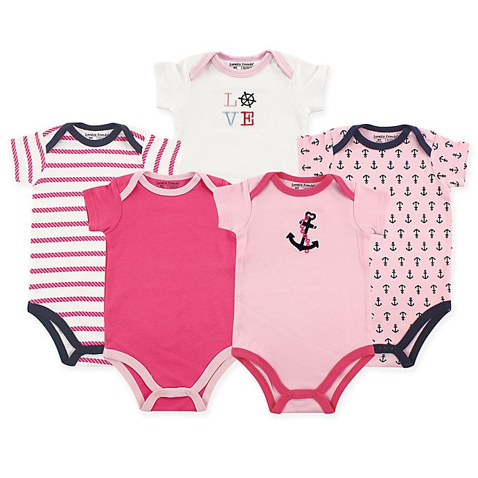 4d5efb79b9 Luvable Friends® 5-Pack Nautical Short Sleeve Bodysuits in Pink ...