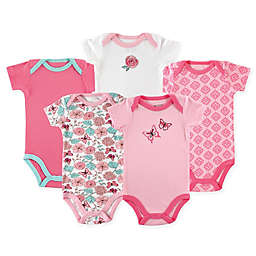 Luvable Friends® 5-Pack Butterfly Short Sleeve Bodysuits in Pink/Green