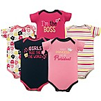 Luvable Friends® Size 3-6M 5-Pack  Girls Rule  Short Sleeve Bodysuits in Pink/Yellow