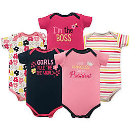 "Luvable Friends® 5-Pack ""Girls Rule"" Short Sleeve Bodysuits in Pink/Yellow"