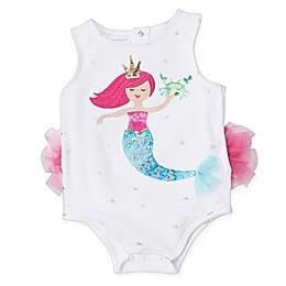 Mud Pie® Ruffled Mermaid Bodysuit in White