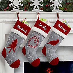 Wreath Wintertime Wishes Christmas Stocking
