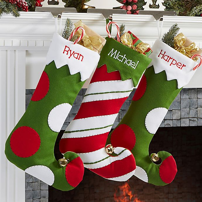 Embroidered Christmas Stockings.Jolly Jester Embroidered Christmas Stocking Collection Bed