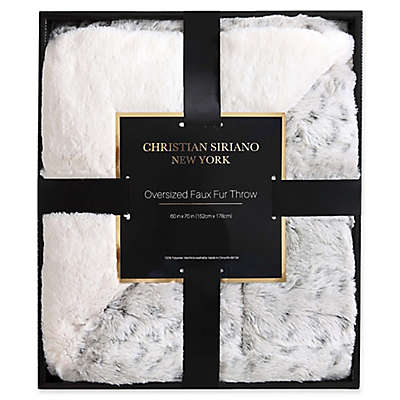 Christian Siriano Leopard Faux Fur Throw Blanket