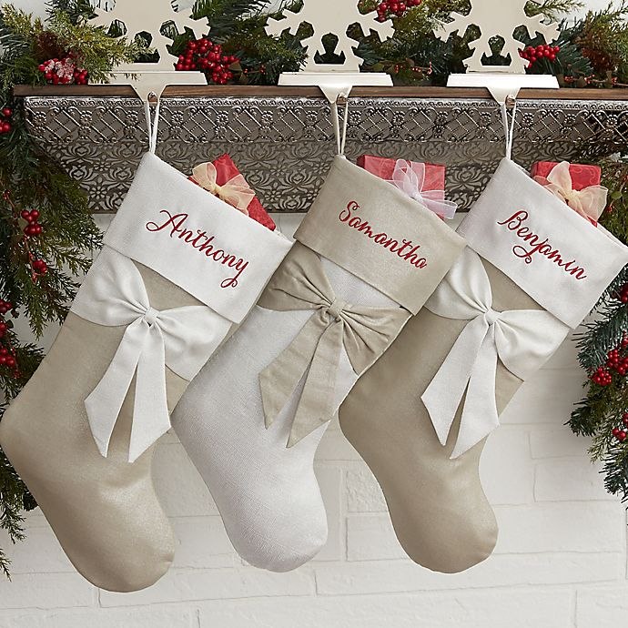 Lustrous Bow Christmas Stocking Bed Bath Beyond