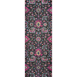 Momeni Jewel 2'7 x 7'6  Floral Loomed Runner in Charcoal