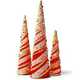 National Tree Company® Pre-Lit Sisal Cone Assortment in Red/White (Set of 3)