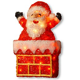 National Tree Company® Pre-Lit Tinsel Santa on Chimney with Clear Lights