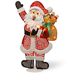 National Tree Company® Pre-Lit Tinsel Santa with Clear Lights