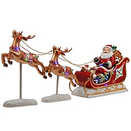 National Tree Company LED Santa Sleigh with 2 Reindeer Holiday Decoration