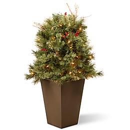 Artificial Glistening Pine Pre-Lit Porch Bush