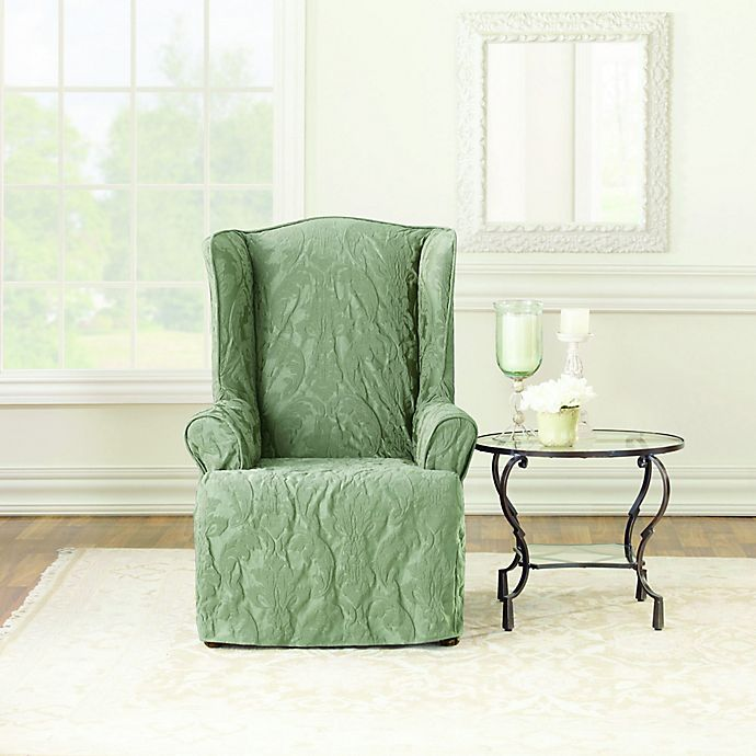 Cool Sure Fit Matelasse Damask Wing Chair Cover Bed Bath Beyond Machost Co Dining Chair Design Ideas Machostcouk