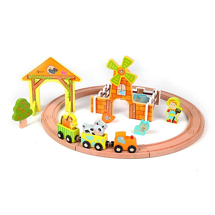 Alternate image 1 for Classic World Wood Farm Train Set