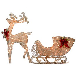 National Tree Company® 38-Inch Reindeer and Santa's Sleigh with White LED Lights