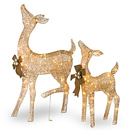 National Tree Company® Fawn and Doe Decoration with Clear Lights