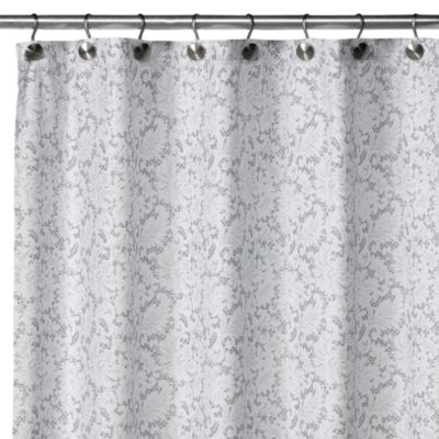WatershedR Single SolutionTM 2 In 1 Victorian Fabric Shower Curtain White Silver