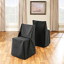 Sure Fit Cotton Folding Chair Cover in Black