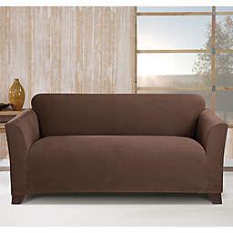 Sure Fit® Stretch Morgan Box Cushion Sofa Cover in Chocolate