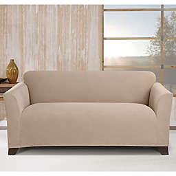 Sure Fit® Stretch Morgan Box Cushion Loveseat Cover in Khaki