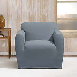 Sure Fit® Stretch Morgan Box Cushion Chair Cover in Storm Blue