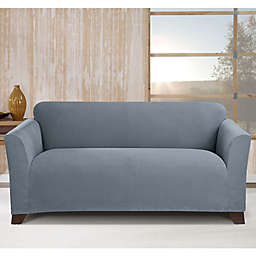 Sure Fit® Stretch Morgan Box Cushion Loveseat Cover in Storm Blue