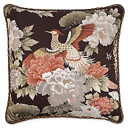 Austin Horn Classics Paradise Peacock 20-Inch Square Throw Pillow in Brown/Coral