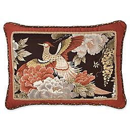 Austin Horn Classics Paradise Peacock Boudoir Throw Pillow in Brown/Coral