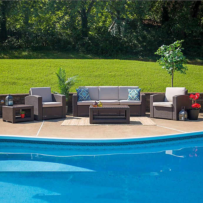 Alternate image 1 for Flash Furniture 5-Piece Outdoor Rattan Sofa Convo Set in Chocolate Brown with Beige Cushions