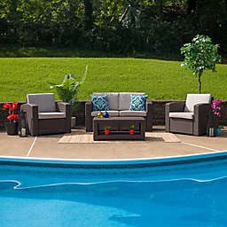 Flash Furniture 4-Piece Outdoor Rattan Loveseat Convo Set in Chocolate Brown with Beige Cushions