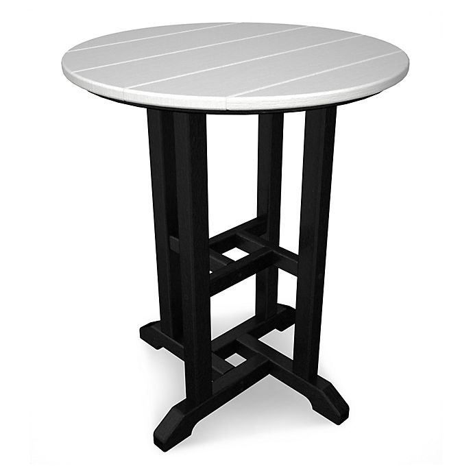 Alternate image 1 for POLYWOOD® Contempo 24-Inch Round Patio Dining Table in Black/White