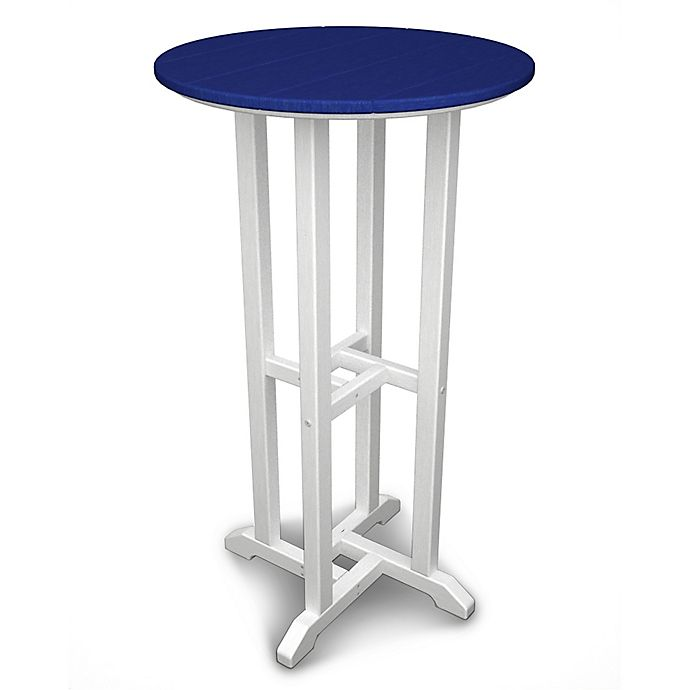 Alternate image 1 for POLYWOOD® Contempo 24-Inch Round Bar Table in White/Blue
