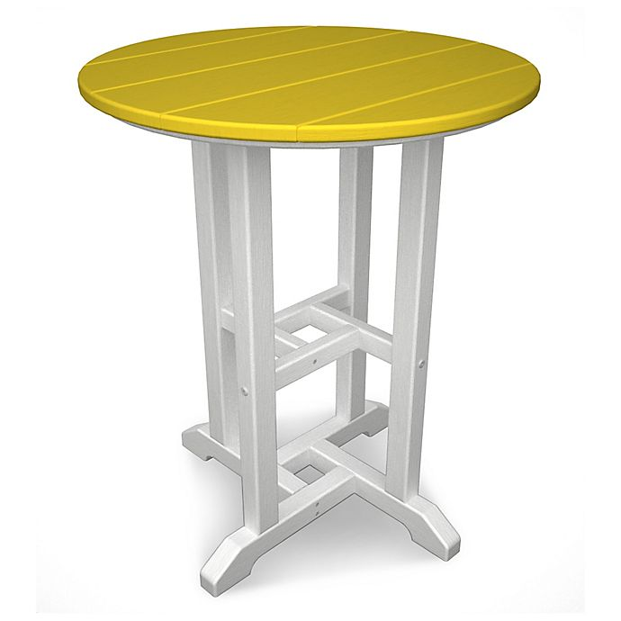 Alternate image 1 for POLYWOOD® Contempo 24-Inch Round Dining Table in White/Lemon