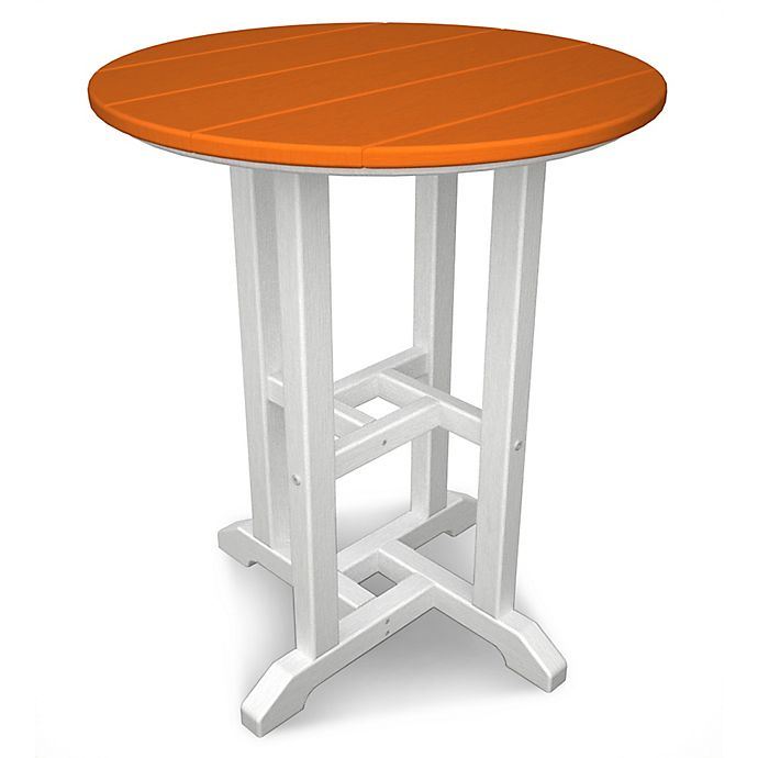 Alternate image 1 for POLYWOOD® Contempo 24-Inch Round Dining Table in White/Orange