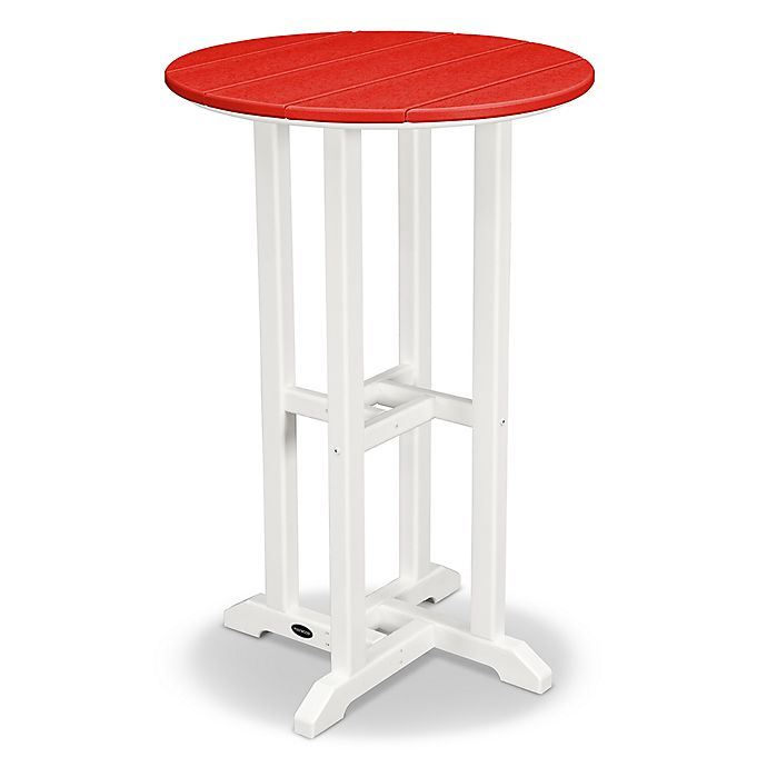 Alternate image 1 for POLYWOOD® Contempo 24-Inch Round Counter Table in White/Red