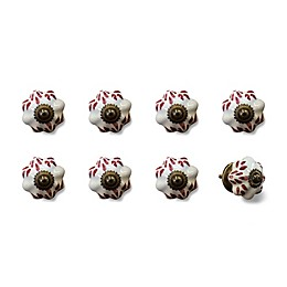 Knob-It Vintage Hand Painted 8-Pack Ceramic Knob Set in White/Burgundy