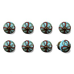 Knob-It Vintage Hand Painted 8-Pack Ceramic Round Knob Set in Red/Turquoise