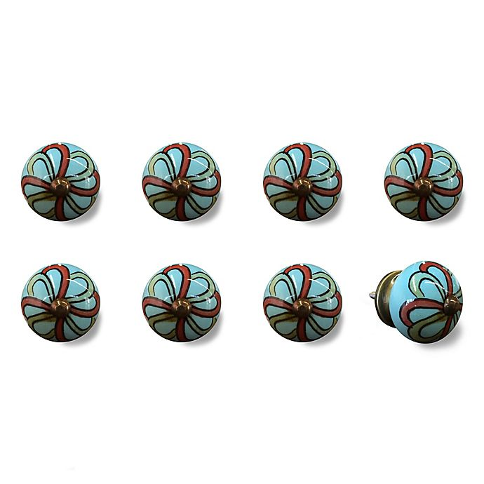 Alternate image 1 for Knob-It Vintage Hand Painted 8-Pack Ceramic Round Knob Set in Red/Turquoise