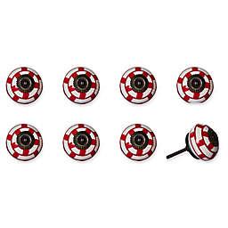 Knob-It Vintage Hand Painted 8-Pack Ceramic Round Knob Set in White/Red/Pewter