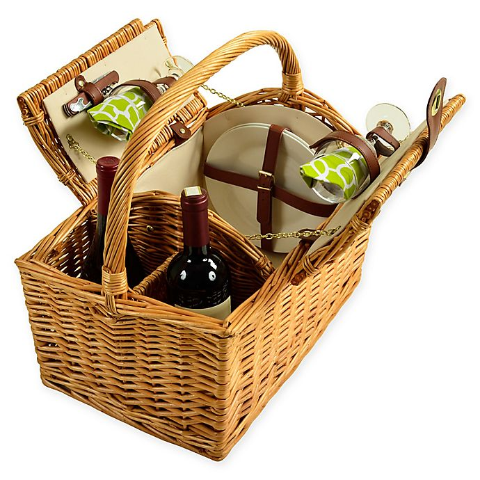 Alternate image 1 for Picnic at Ascot 2-Person Vineyard Willow Picnic Basket in Green/White