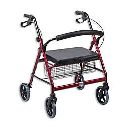 DMI Extra-Wide Steel Bariatric Rollator in Burgundy