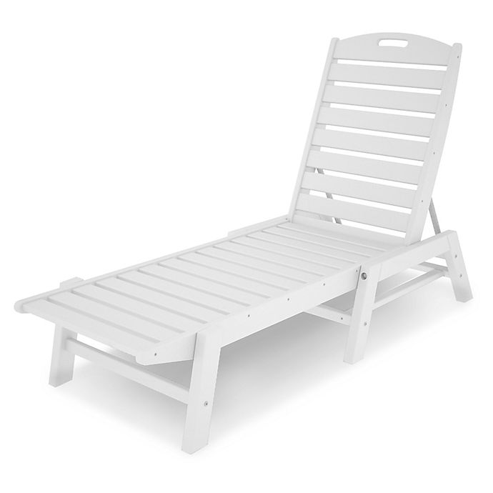 Alternate image 1 for POLYWOOD® Nautical Stackable Chaise in White