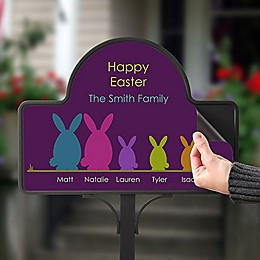 Easter Bunny Family Magnetic Garden Sign